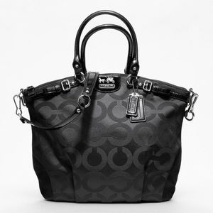 NWT Coach Signature Madison Op Art Lindsey Satchel